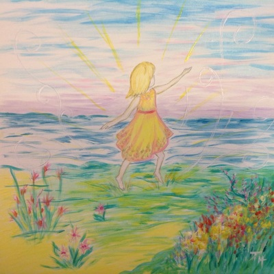 Painting of little girl running on the beach by Pam Herrick, artist at Just For You Prophetic Art