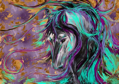 Stallion bowing his head down with golden leaves and teal mane by Pam Herrick at Just For You Prophetic Art