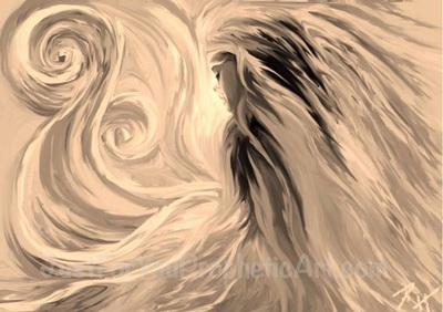 Angel praying in swirls of clouds by Pam Herrick at Just For You Prophetic Art