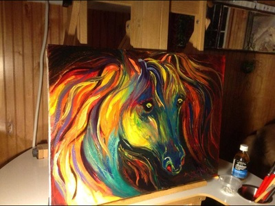 Rainbow color horse canvas painting by Pam Herrick- Just For You Prophetic Art