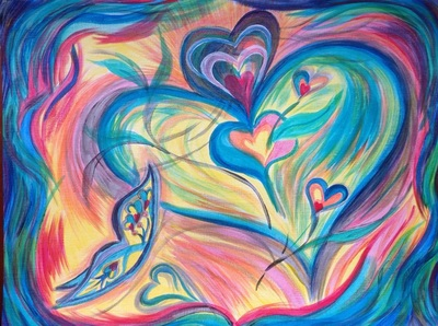 Heart painting with butterflies by Pam Herrick, artist at Just For You Prophetic Art