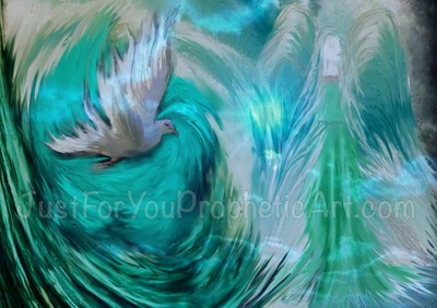 Angel Dove Holy Spirit in clouds prophetic art painting by Pam Herrick Prophetic Art.
