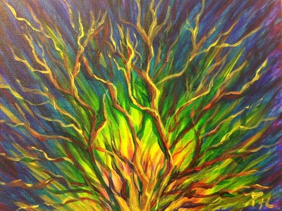 Burning Bush painting glowing green with bare branches like a tree by Pam Herrick at Just For You Prophetic Art