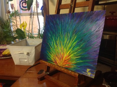 Strokes of rainbow colors painting by Pam Herrick Prophetic art.