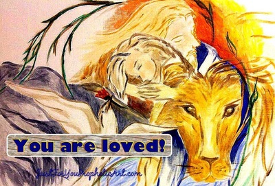 Jesus hugging girl with Lion of Judah by Pam Herrick at Just For You Prophetic Art