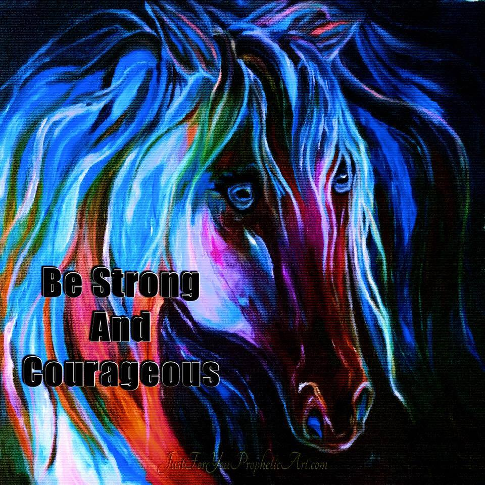 Horse painting with blue eyes, quote,