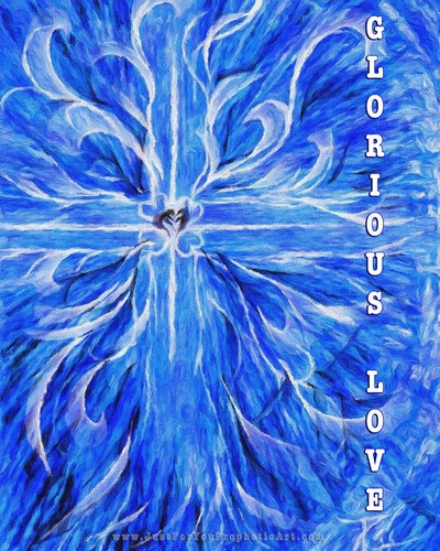 Blue Cross with hearts Prophetic art by Pam Herrick at Just For You Prophetic Art