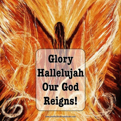Glory hallelujah our God reigns! Angel Prophetic Art by Pam Herrick