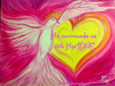 Holy Spirit Dove Heart by Pam Herrick artist at Just For You Prophetic Art.