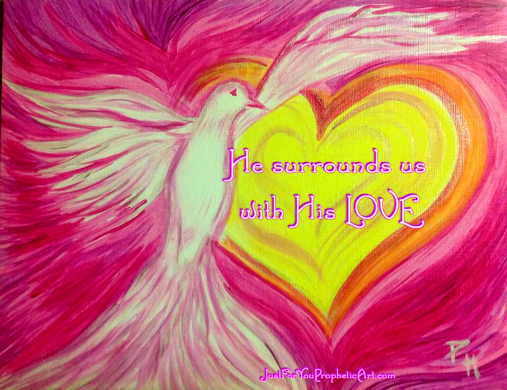 Prophetic Art Holy Spirit Dove, by Pam Herrick, artist at Just For You Prophetic Art. Quote,