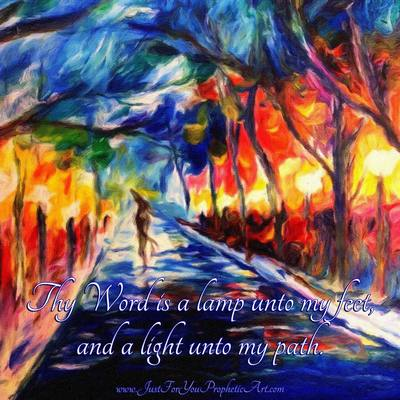Colorful lamp lit path painting by Pam Herrick Prophetic Art.
