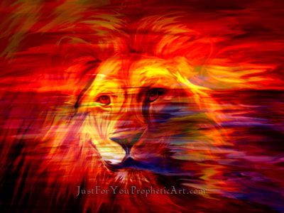 Lion of Judah dream painting by Pam Herrick- Just For You Prophetic Art